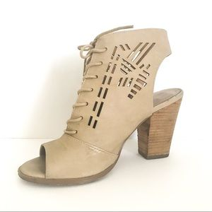 Report Lace Up Peep Toe Booties Tan Size 7.5
